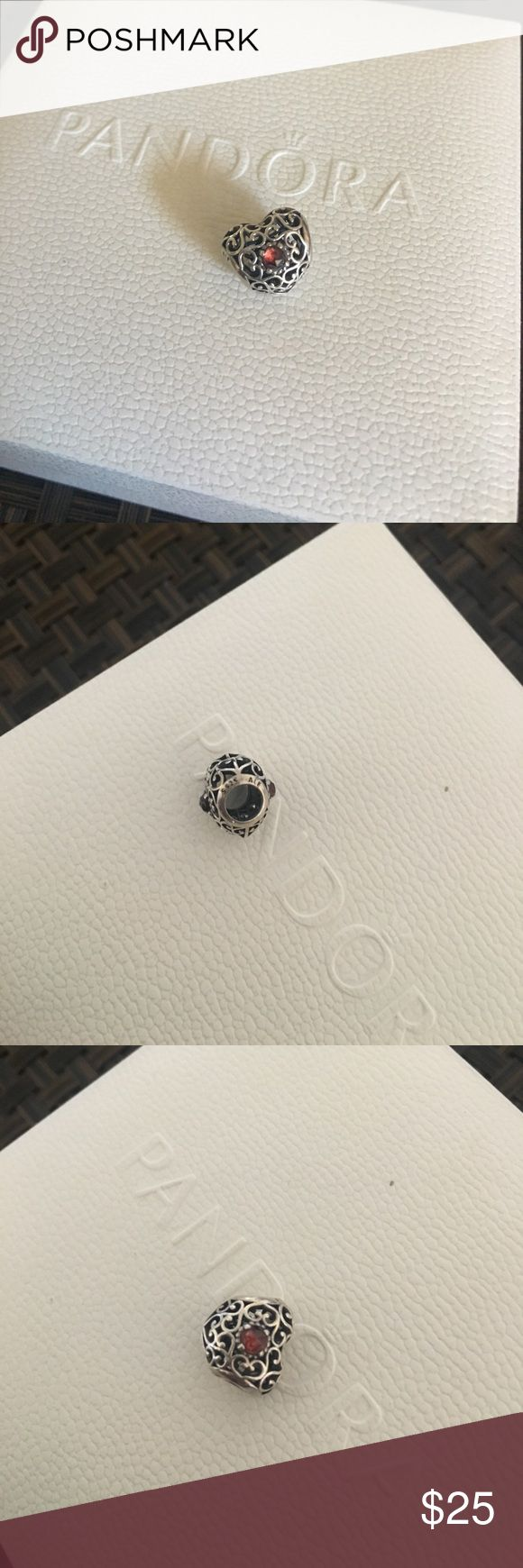 Authentic pandora birthday charm Color is January birthstone. Only worn once. 100% authentic. Just no longer have box. No Trades. Pandora Jewelry