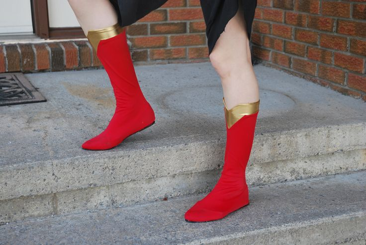 """The original pin said """"Socks glued on ballet flats for Super Hero boots"""", but I'm guessing you could just wear socks over the shoes without the glue...but that's just a guess right now, I'll have to try it and see."""