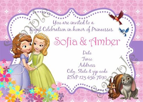 41 best sofia the first birthday party images on pinterest sofia the first and amber birthday party invitation thank you card designfree stopboris Choice Image
