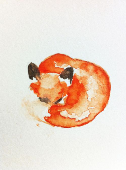 sweet little fox: Watercolors, Illustration, Water Color, Carrie Booth, Tattoo, Foxes, Fox Art