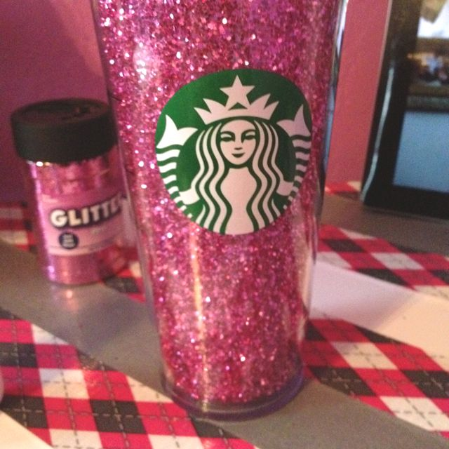 This is fabulous! My three favorite things: Starbucks, pink & glitter!
