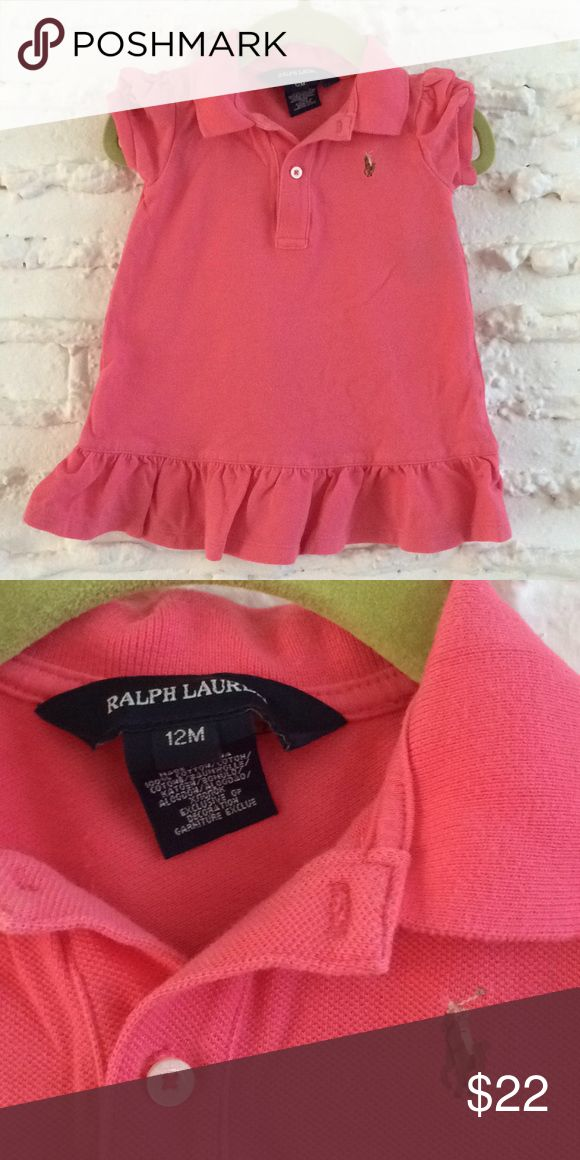 {ralph lauren} 👶Ruffle Pique Polo Dress Coral pink pique cotton polo dress from Ralph Lauren. Ruffles at shoulder and hem. Washed and worn but great condition! Ralph Lauren Dresses Casual