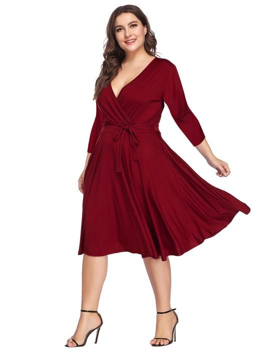 Wine Red Plus Size Skater Dress in 2019   Plus Size Dress ...