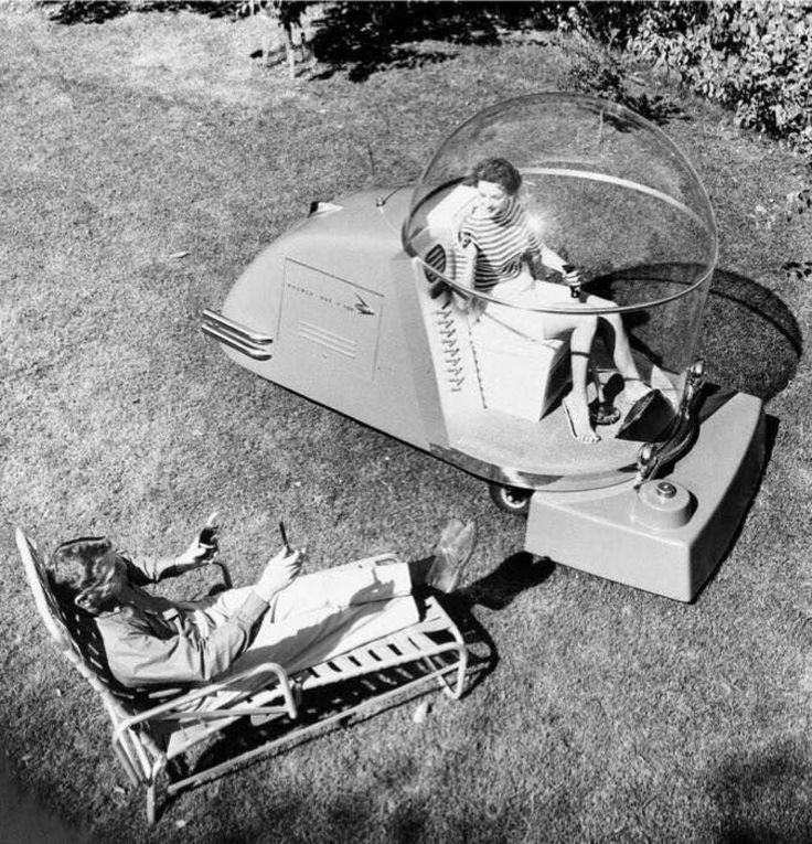 An airconditioned luxury lawn mower of the 1950s Weird