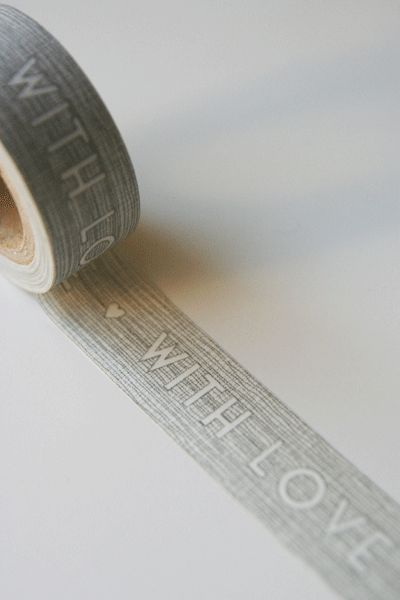 """""""with love"""" washi tape...great for gift packaging or cards or baked goods"""
