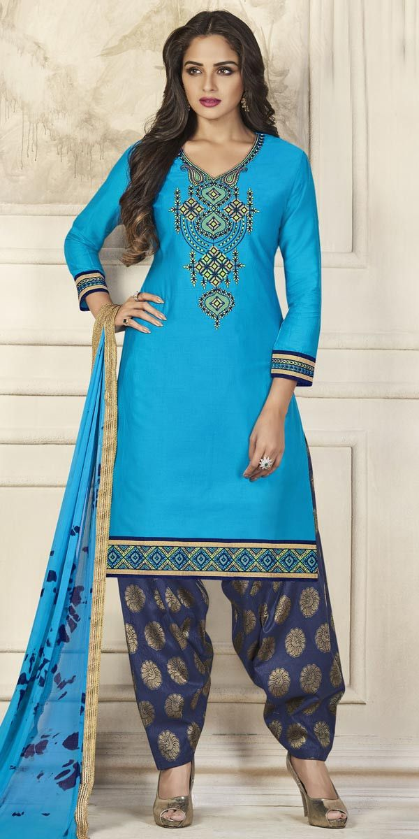Creative Sky Blue Glace Cotton Patiala Suit. #salwar