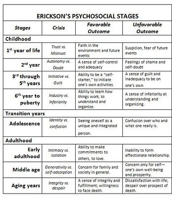 Erikson's Psychosocial Stages of Development.  Successful development is dependent upon how one progresses through each stage.
