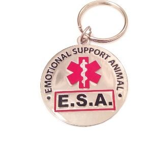 "Engraved and coated metal ""Emotional Support Animal E.S.A"" Tag."