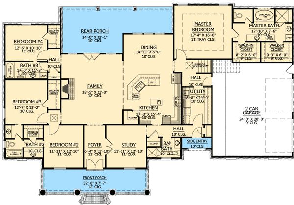 Floor 1 Home Plans 4 Bedroom French Country Floor Plan
