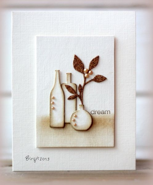 serene & lovely handmade card from Birgit ... white with coloring in brown ... bottle and vase ... modern still life ...