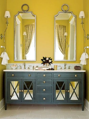 ..: Bathroom Design, Yellow Wall, Color Combos, Yellow Bathroom, Wall Color, Vanities, Bathroom Mirror, Bathroom Idea, Master Bathroom