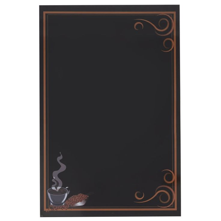 "This Rainbow Sign Mfg. RMV-2436-CFE 24"" x 36"" black marker board with coffee graphic is the perfect way to show off your daily specials and deals! Constructed of 3/8"" particle board, this menu board has a smooth, laminated surface that allows you to easily write and display a welcome message or a list of available food and beverage items. Plus, it has an attractive graphic that features coffee beans and a piping-hot beverage, making it perfect for use in cafes and coffee s..."