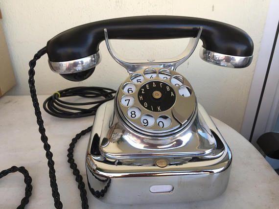 Antico telefono SIEMENS W 28 ferro-cromo 1925