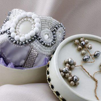 Bridal Cuff Bracelet / Bead Embroidery Bridal Bracelet / Bridal Trends by KalitheoCreations