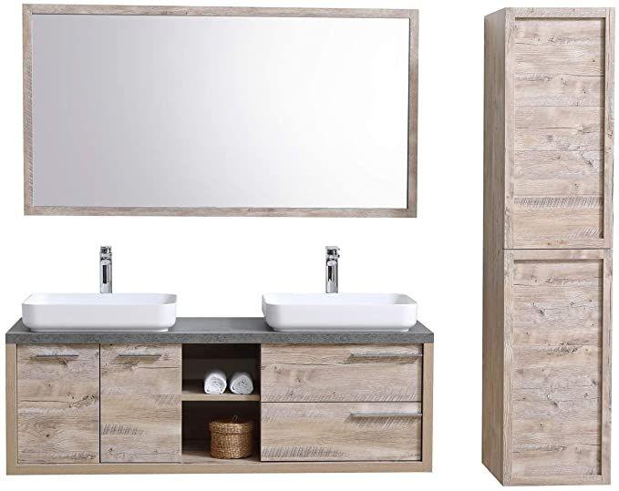 Badezimmer Badmobel Vermont 150 Cm Nature Wood Unterschrank Schrank Waschbecken Spiegel Hochschrank Amazon De Kuche H In 2020 Badezimmer Unterschrank Hochschrank