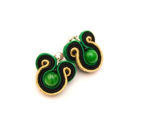 Embroidered studs small elegance emerald by MANUfakturamaanuela, $23.00