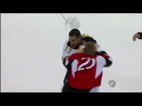 Milan Lucic Fights Chris Neil and Bloodies Him