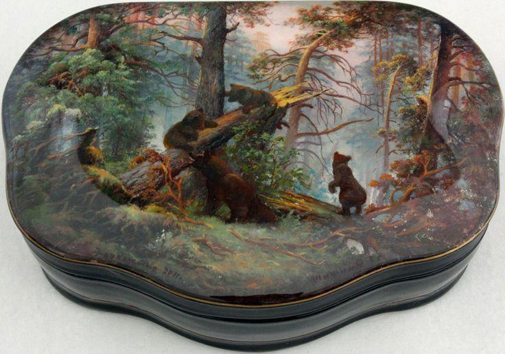 "Fedoskino. Russian Lacquer Art Titled ""Morningin the Wood"" Artist Shishkin"