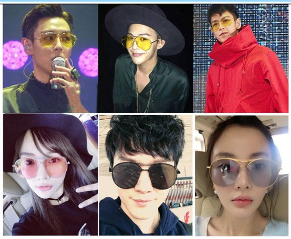 今年流行りのサングラスレディース2016韓国韓流GDサングラス芸能人眼鏡カラフル透明クリア人気ランキング激安価格シャーベットカラーサングラス
