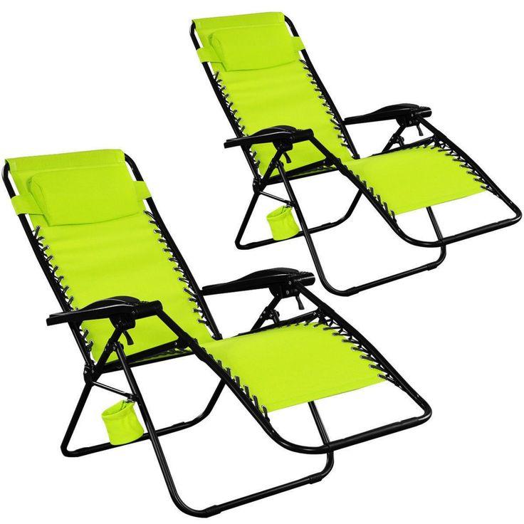 Set Of 2 {Two) Zero Gravity Chairs Lounge Patio Folding