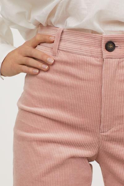 Wide-leg Corduroy Pants – Powder pink – Ladies | H&M US 2