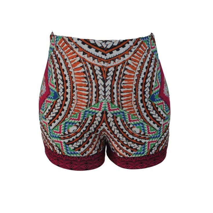 2017 Fashion high waist shorts women summer beach style tribal print clothing african fabric female shorts casual wear H71194 #Affiliate