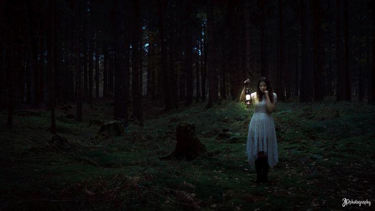 creepy dark forest fashion portrait