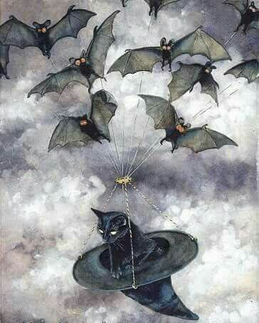 Up and away Mryna's bats carried her precious Seymour back to Mryna in her dwelling where all her darlings were safe.