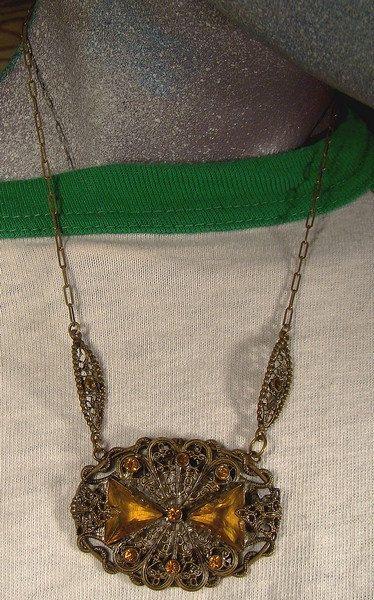 Art Deco Czech Amber Crystal Filigree Necklace 1920s
