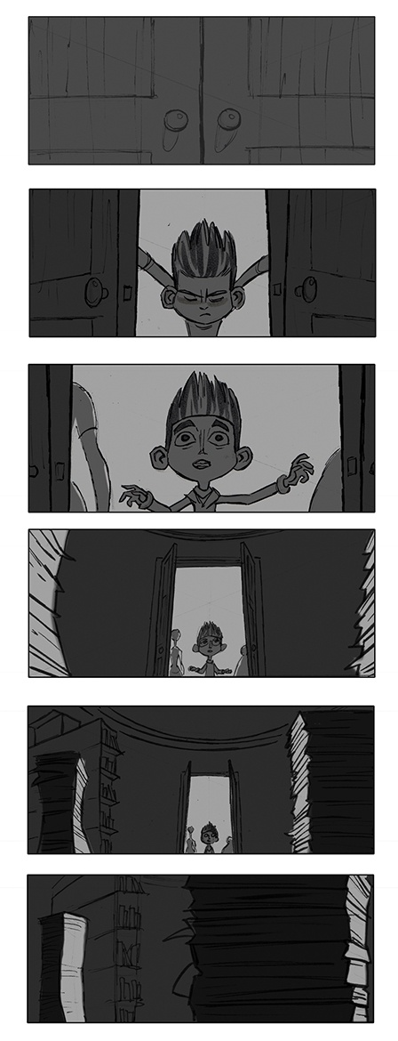 A story board sequence by artist, Matt Jones, for the Laika stop-motion film 'ParaNorman'.