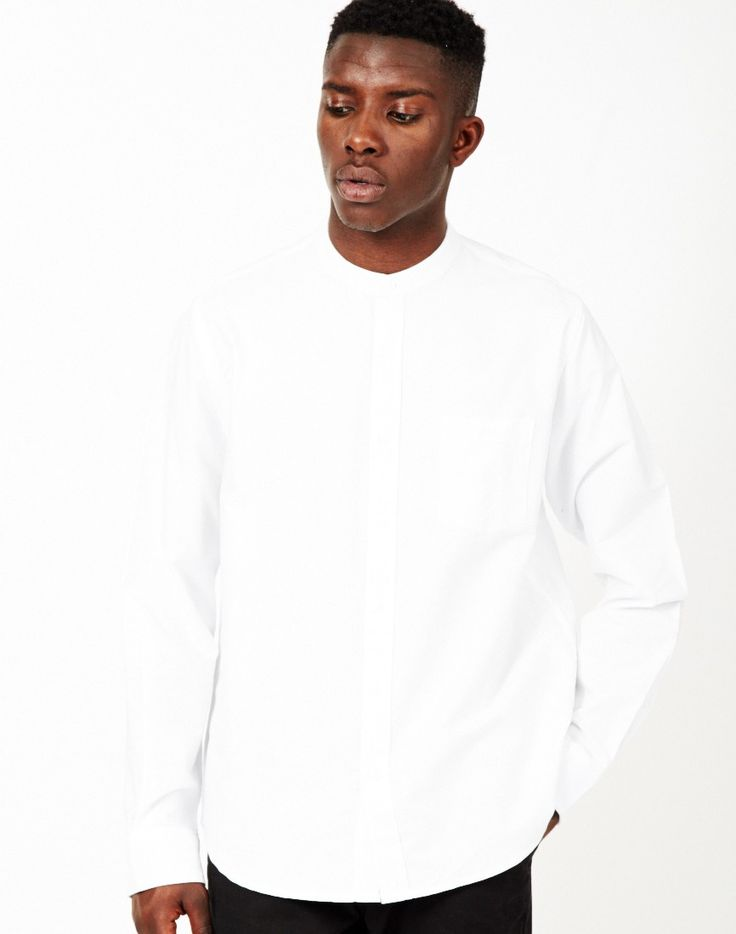 The Idle Man Mandarin Collar Shirt White | Shop men's clothing at The Idle Man