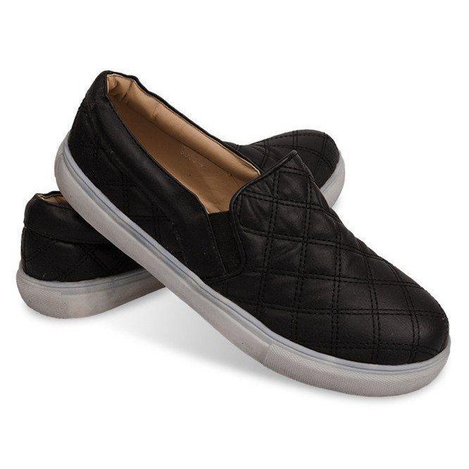 Wsuwane Trampki Pikowane Slip On 9033 Czarny Czarne Sneakers Trainers Women How To Make Shoes