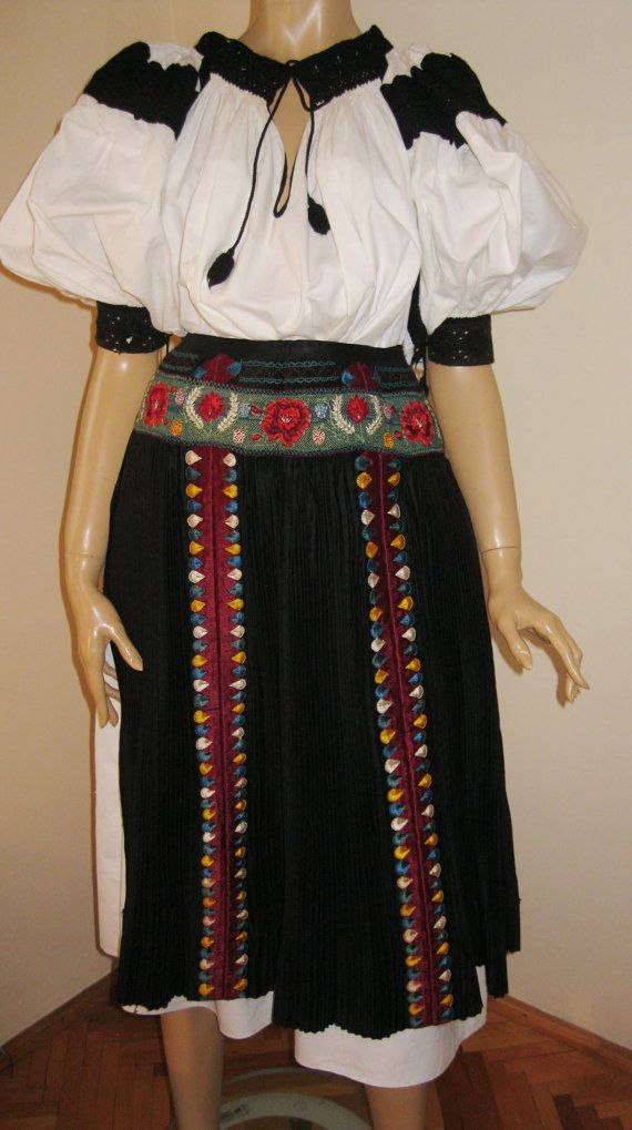 Antique hand embroidered Hungarian complete costume door RealRomania