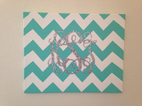 Painted chevron canvas with personalized glitter monogram from DivaKrafts on Etsy