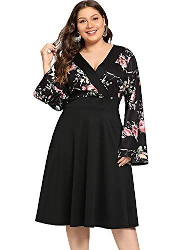 c7a99232f24 Milumia Plus Size Wrap V Neck Floral Print Shift Dress Long Sleeves Party  Midi Dress 1X at Amazon Women s Clothing store