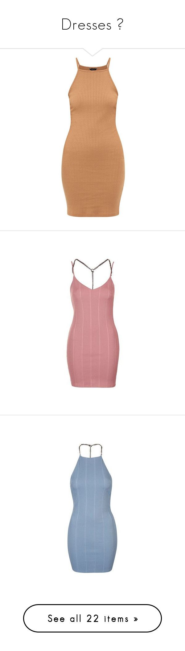 """""""Dresses ✨"""" by s0-childish ❤ liked on Polyvore featuring dresses, camel, high neck dress, camel dress, strappy summer dresses, strap dress, summer mini dresses, vestidos, dusty pink and red backless dress"""