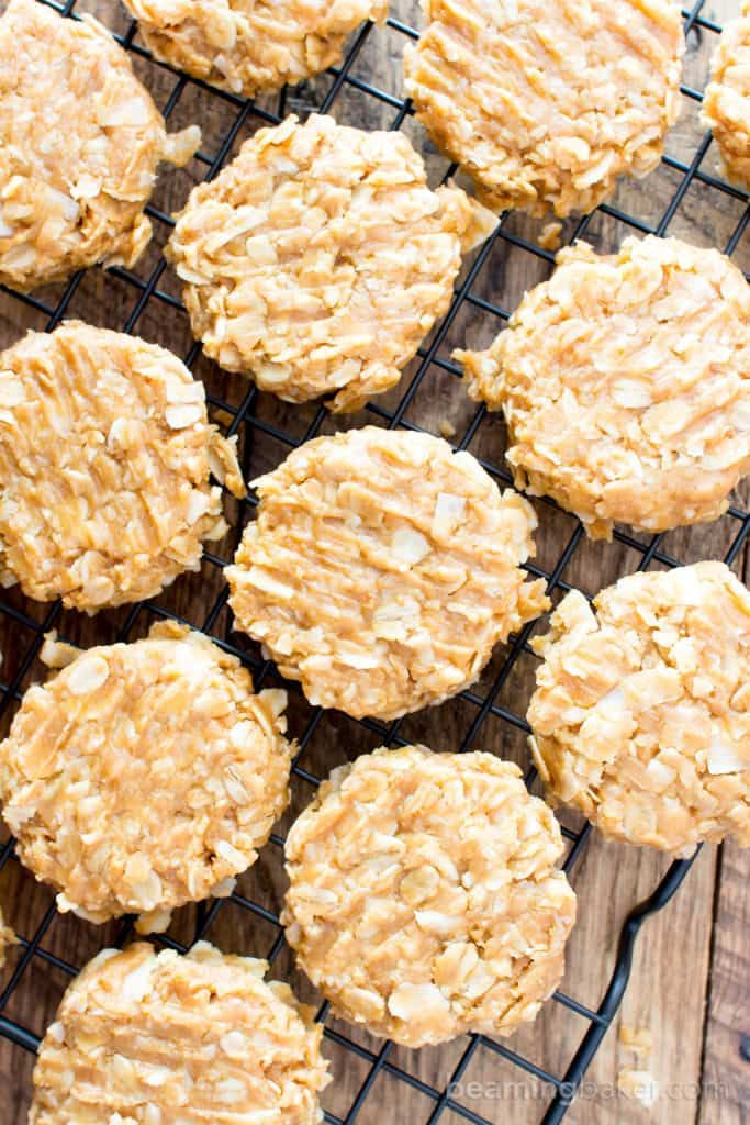 4 Ingredient No Bake Peanut Butter Coconut Oatmeal Cookies V Gf
