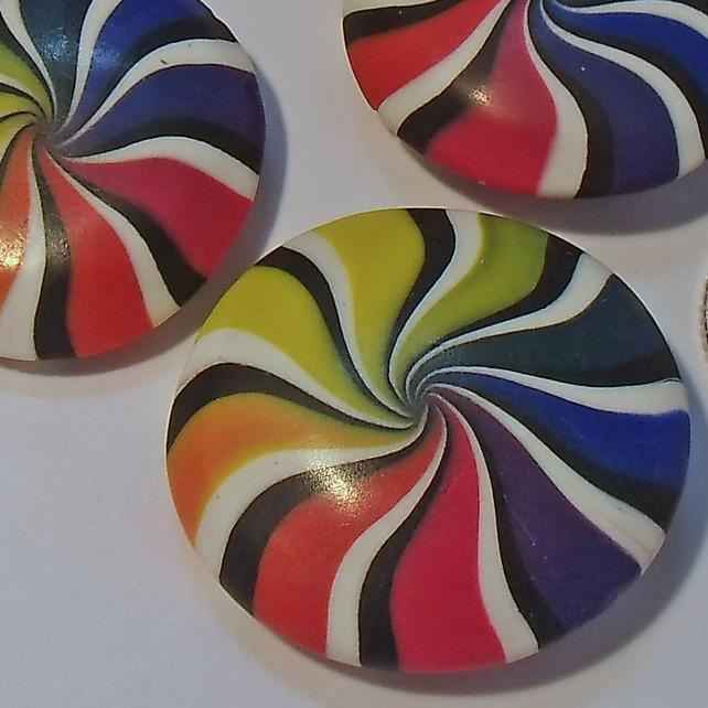 Muted Rainbow Swirl Polymer Clay Beads