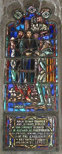 Stained glass window depicting Anglican martyrs Hugh Latimer, Nicholas Ridley and Thomas Cranmer.