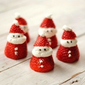 Santa Strawberries -- SOO cute!! Not sure if I will find strawberries in the store.