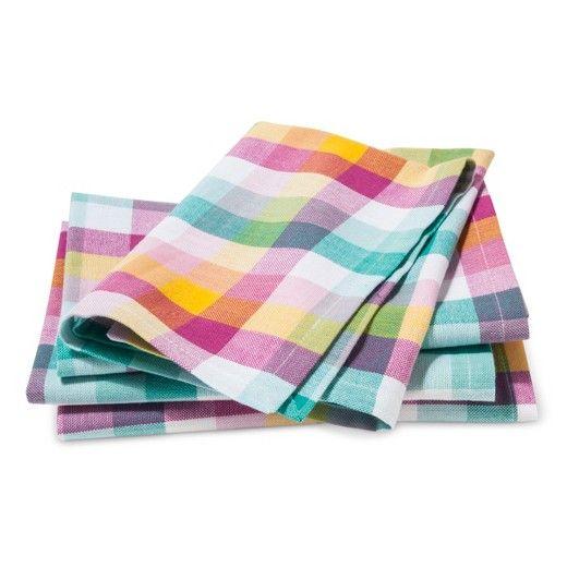 (4Pk) Turq Plaid Yarndye Kitchen Textiles Napkins : Target
