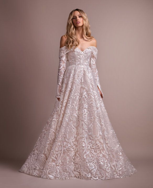Style 6900 Marsden Hayley Paige Bridal Gown Ivory Luxembourg Long Sleeve Ball Gown Wedding Dress Long Sleeve Off Shoulder Wedding Dress A Line Wedding Dress