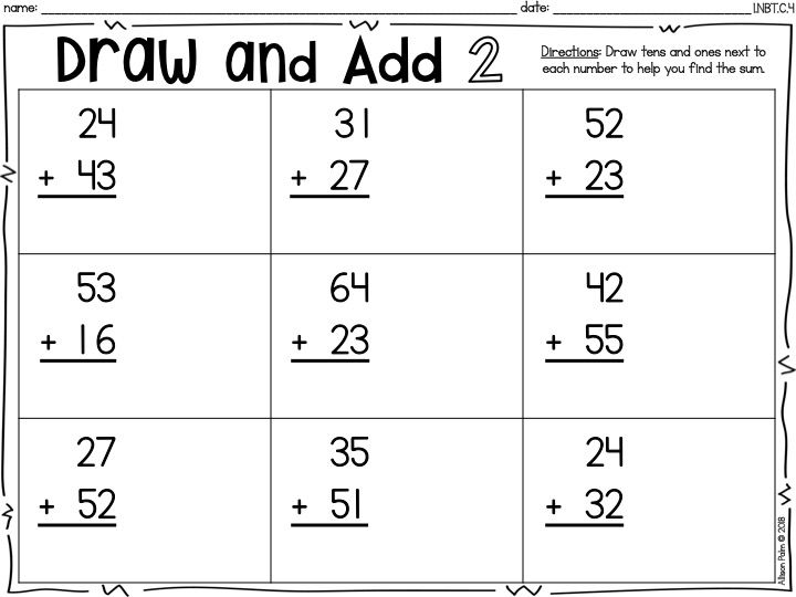 Add Tens And Add Ones Two Digit Addition Without Regrouping Printable Practice Sheet First 1st Grade Ready Math Common Core Math Printable Math Worksheets Common core worksheets adding and