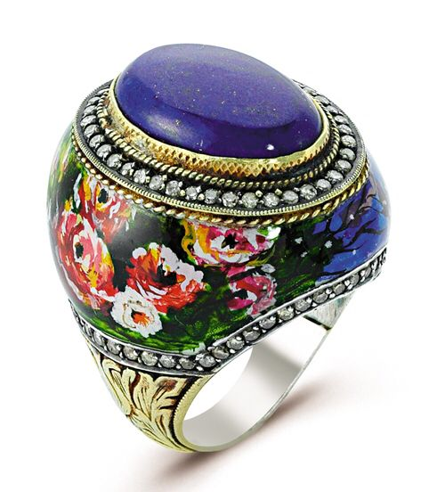"It's an ""ART IS IT"" collection which is Hand painted and ottoman style carving on outskirts of ""BLOSSOM"" ring with 24k Goldleaf /925, beautiful Lapis stone & diamonds. So why not WEAR YOUR ARTS !!!!!"