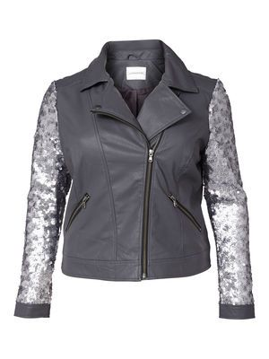 LAMA SHORT PU JACKET  #sparkle #sequins #leatherjacket #junarose @David Rose
