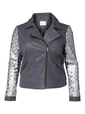 LAMA SHORT PU JACKET  #sparkle #sequins #leatherjacket #junarose @David Rose