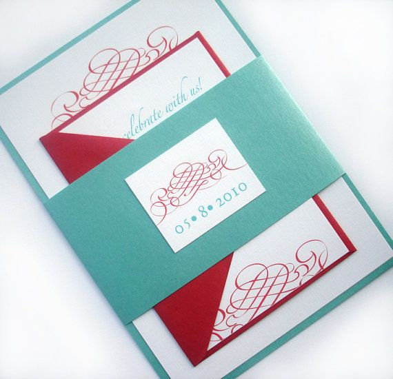 Red and Tiffany blue Scroll Wedding Invitation Set by alamodebride, $4.75