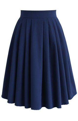 Chic Basic Pleated Skirt in Navy - Bottoms - Retro, Indie and Unique Fashion