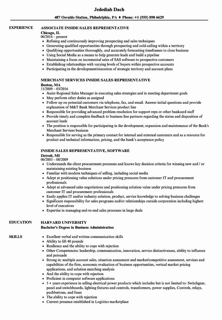 23 Inside Sales Resume Example in 2020 Project manager