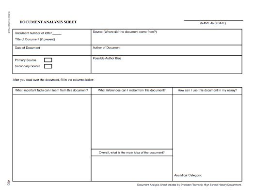 Printables Primary Source Analysis Worksheet 1000 images about primary source analysis tools on pinterest dbq project document sheet httpcurriculum austinisd orgsoc stud